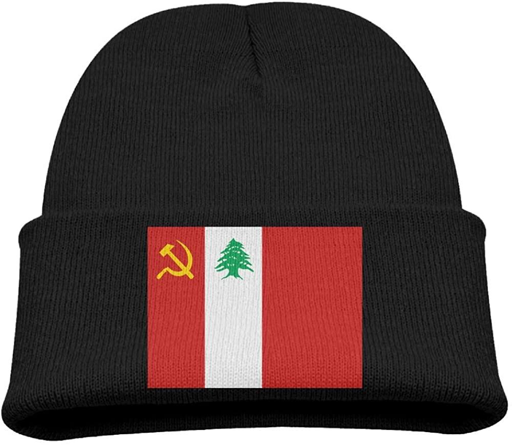 ZWZ Lebanese Communist Party Flag Kid's Hats Winter Funny Soft Knit Beanie Cap Children Unisex