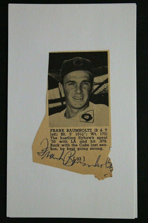 Frank Baumholtz (d.1997) Chicago Cubs Cut Autograph 3x5 Pictured News Clip - MLB Cut Signatures