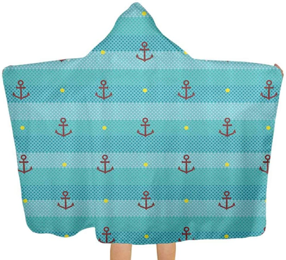 ThinkingPower Hooded Bath Towels Anchor Nautical Dotted Highly Absorbent, Soft Baby Towel for Baby, Toddlers, or Kids, 51.5x31.8 Inch