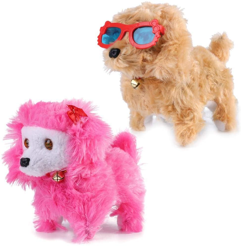 ECCRIS 2PCS SetWalking and Barking Electronic Plush Puppy Gift Toy Dog