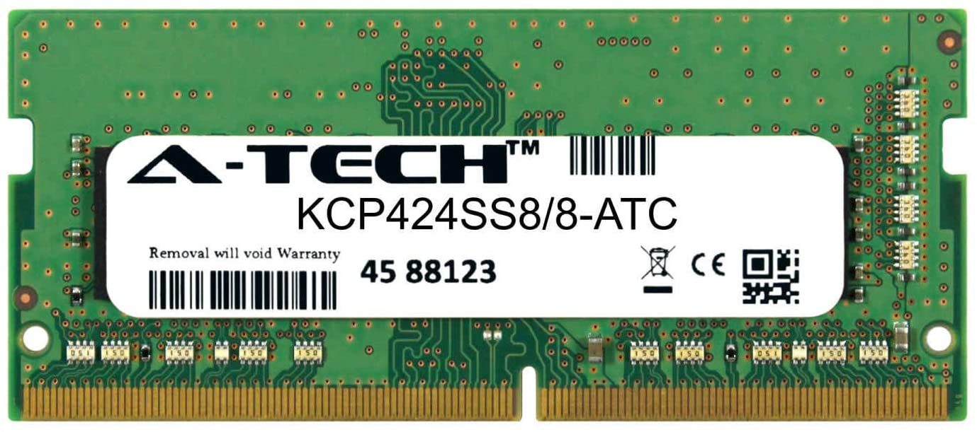 A-Tech 8GB Replacement for Kingston KCP424SS8/8 - DDR4 2400MHz PC4-19200 Non ECC SO-DIMM 1rx8 1.2v - Single Laptop & Notebook Memory Ram Stick (KCP424SS8/8-ATC)