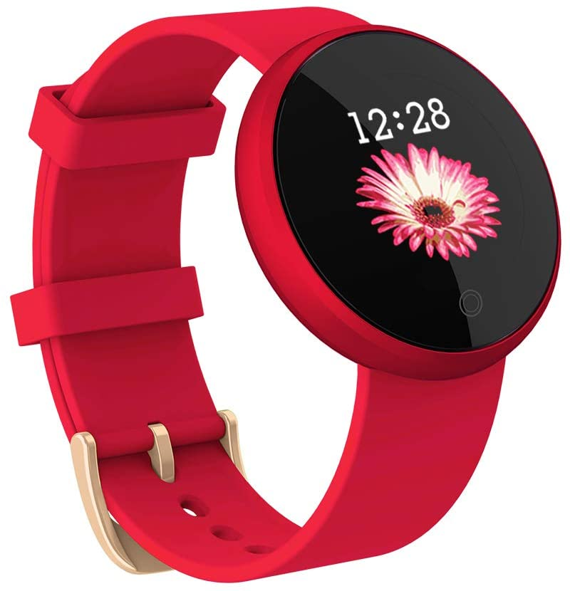 TOP-MAX Fitness Tracker, Smartwatches Waterproof Smart Watch Band Sport Tracker Color Screen with Calorie Step Counter Sleep Heart Rate Monitor Sedentary Reminder for Android iPhone(Red)