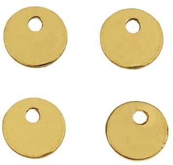 Beadaholique 14K Gold Filled Charm, Round Disc Pendant Blank 4mm Diameter, 4 Pieces