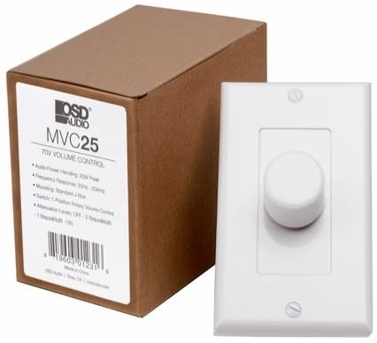OSD Audio 70V Mono In-Wall High Power Volume Control – Commercial Rotary MVC25