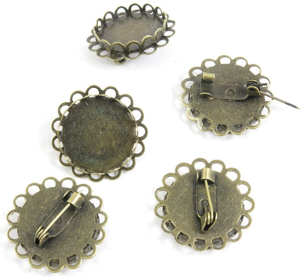 30 PCS Jewelry Making Pin Backs Ancient Antique Bronze Fashion Jewelry Making Crafting Charms Findings Bulk for Bracelet Necklace Pendant A04352 Pinback Round Cabochon Setting Brooch