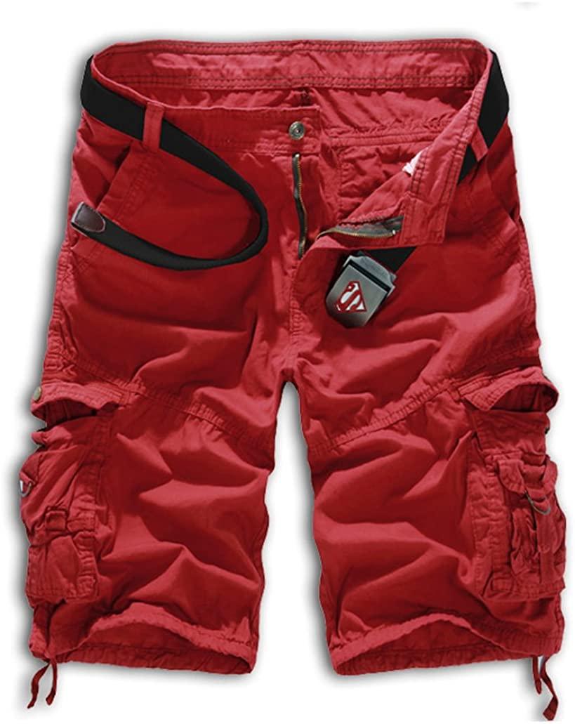 Tonwhar Men's Summer 100% Cotton Cargo Shorts (30, Wine red)