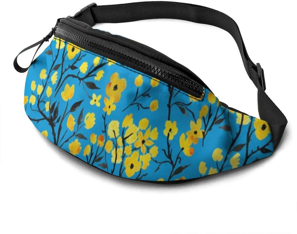 Japanese Flowers and Branches Fanny Pack for Men Women Waist Pack Bag with Headphone Jack and Zipper Pockets Adjustable Straps