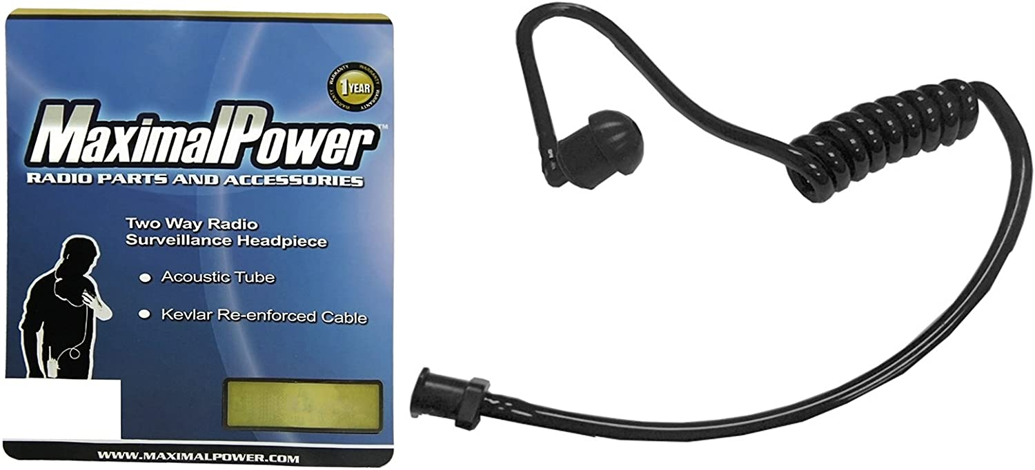MaximalPower RHF Coil(BK) Replacement Acoustic Tube for Two-Way Radio Headsets (Black)