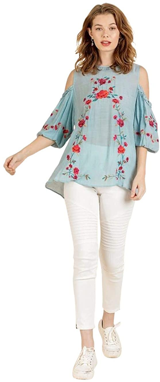 Umgee Women's Floral Embroidered Cold Shoulder Short Puff Sleeve Top
