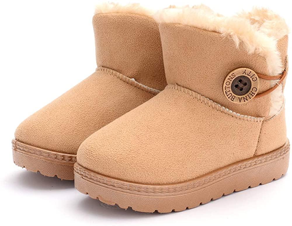 COSANKIM Baby Kids Boys Girls Snow Boots Cozy Fur Non Slip Toddler First Walker Outdoor Winter Shoes (Toddler/Little Kid)