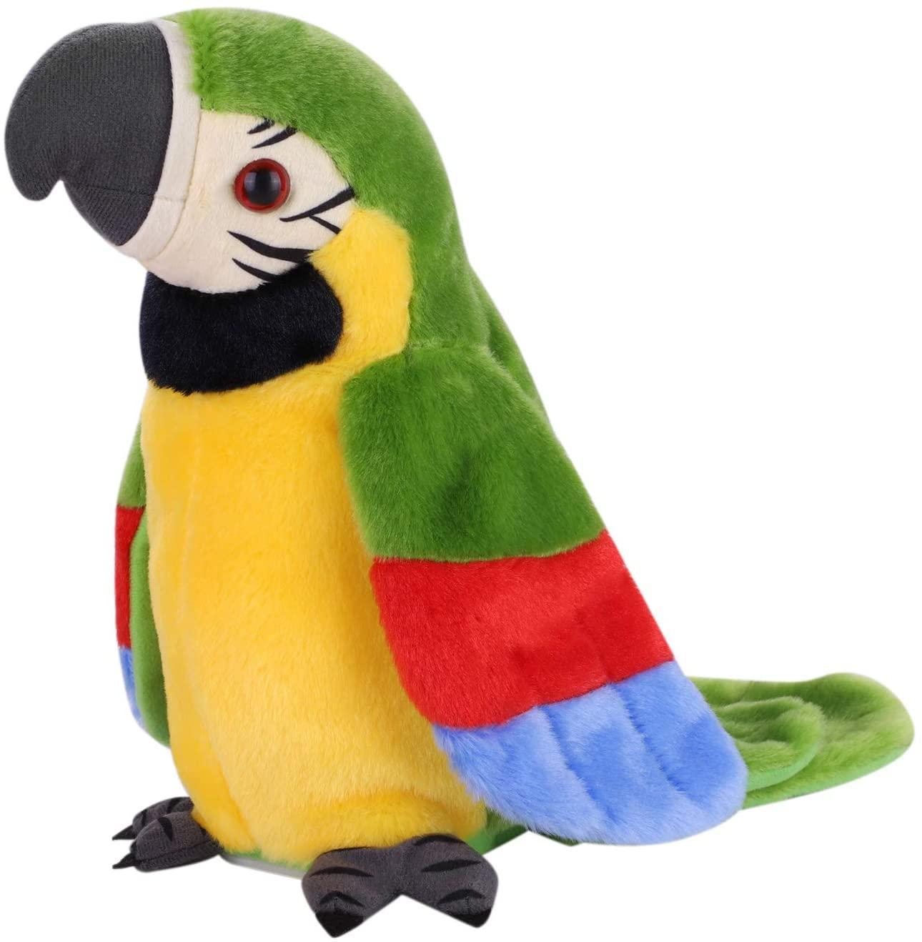 Talking Parrot Repeats What You Say Sing with Cute Voice Mimicry Speaking Parrot Talking Bird Multifunctional Electric Plush Parrot Speaking Pet Toys Gift for Kids Funny Learning & Happiness