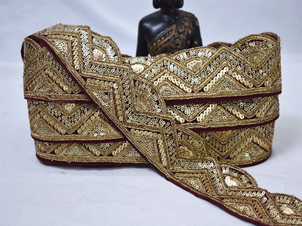 Lace by 9 Yard Wholesale Maroon Velvet Sequins Trims Embroidered Embellishment Gold Sewing Cushion Trimming Embroidery Tape Ribbon Indian Wedding Sari Border