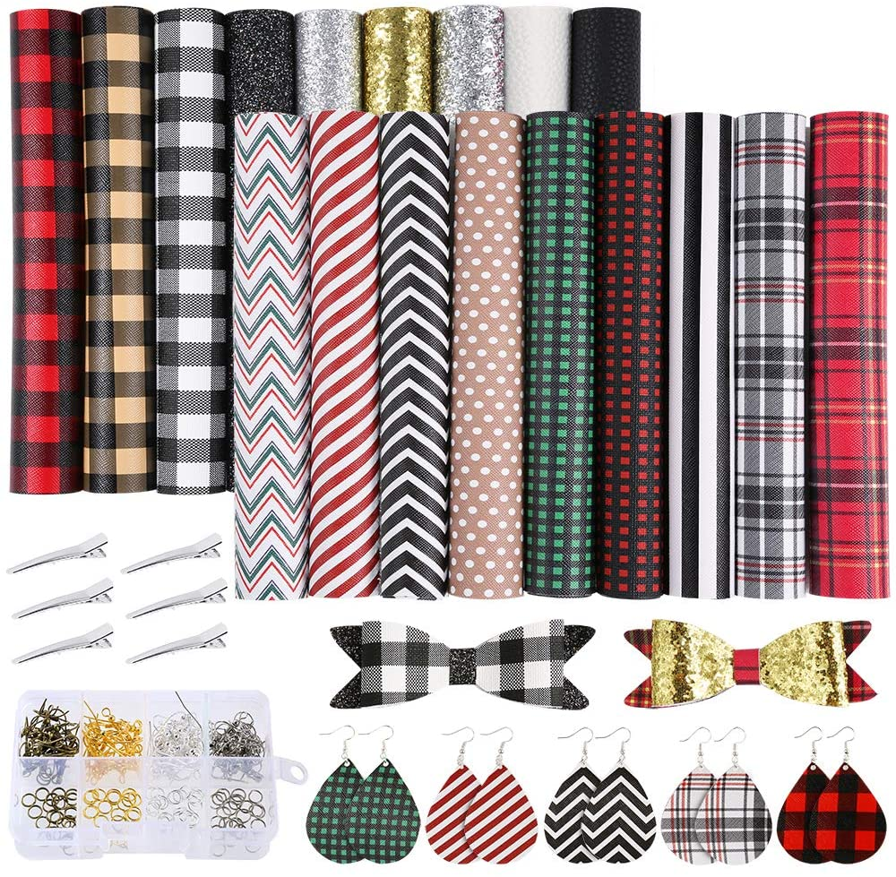 Caydo Buffalo Plaid Faux Leather Sheets, 18 Pieces 4 Kinds Classic Faux Leather Sheet with Earring Hooks, Hair Clips for Making Hair Bowsand Earrings, 6.3 x 8.3 inch