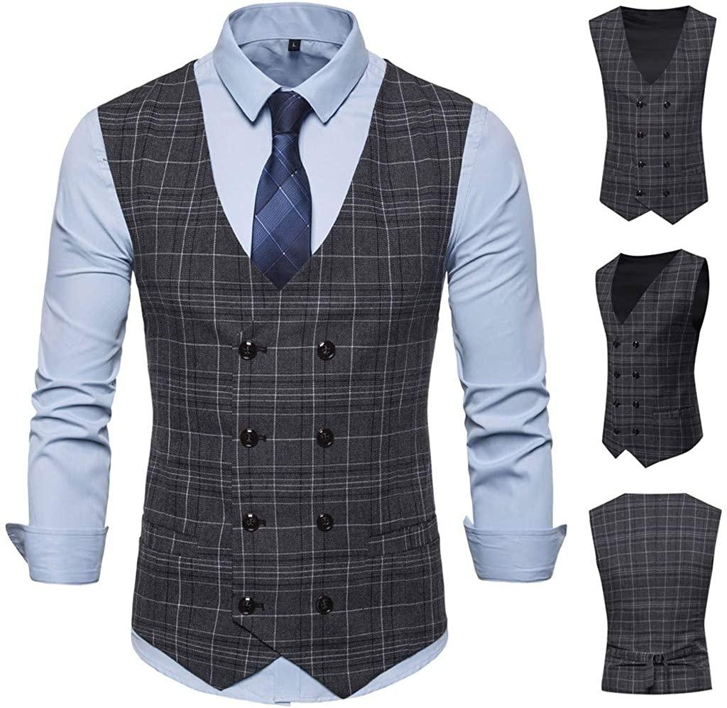 TIANMI Men's Fashion Business Casual Wedding Waistcoat Tops Vest Jacket Top Coat
