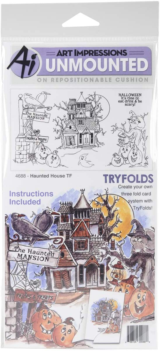 Art Impressions Tryfolds Cling Rubber Stamps Haunted House, 10