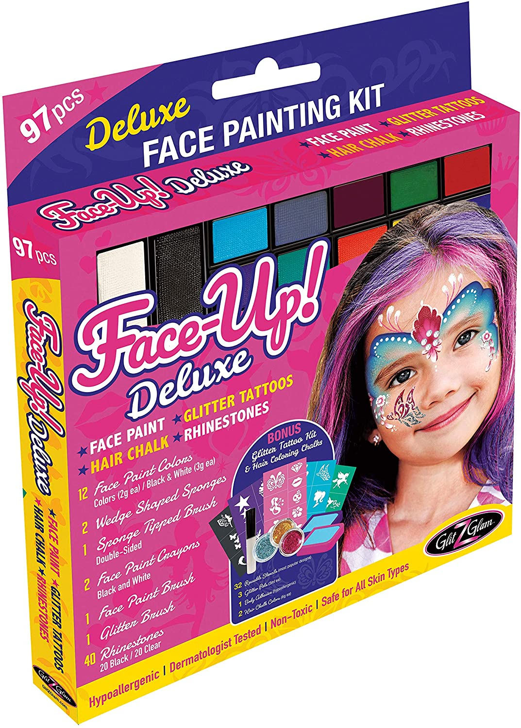 GlitZGlam Original XL Face Paint Kit – FACE-UP Deluxe: 97 Piece, 3 in1 Face Paint, Glitter Tattoos with 32 Reusable Stencils, Rhinestones AND Hair Coloring Chalk. Hypoallergenic & Dermatologist-Tested