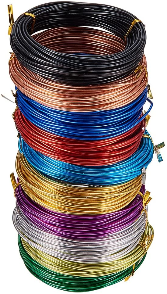 PandaHall Elite 10 Rolls 10 Colors 32 Feet/Roll Aluminum Craft Wire 12 Gauge Flexible Artistic Floral Jewelry Beading Wire for DIY Earring Jewelry Craft Making