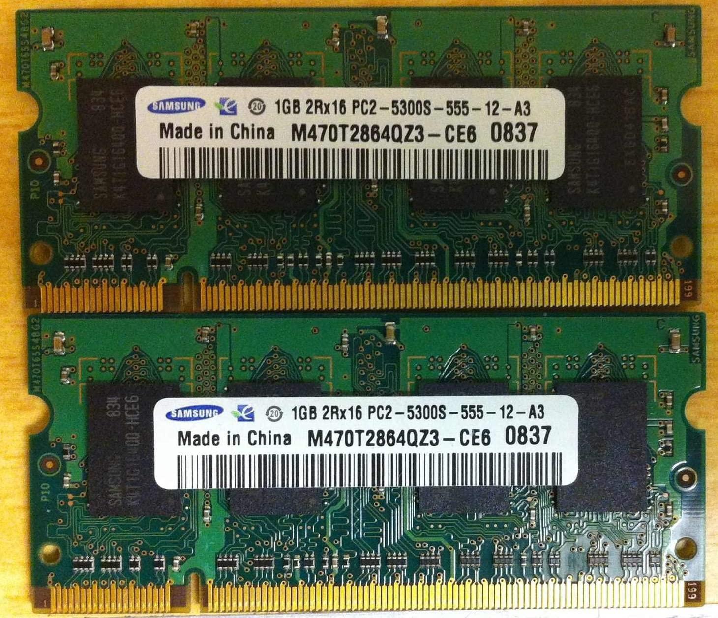 2GB Kit Apple iMac, MacBook, MacBook Pro Memory Upgrade 2 x 1GB (MA346G/A) DDR2 PC2-5300 SODIMMs Samsung Original