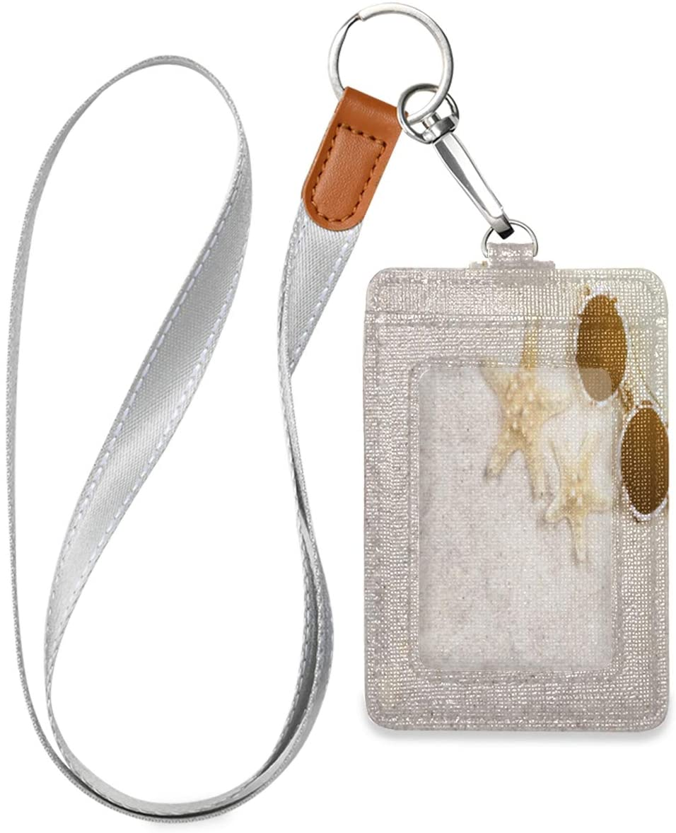 Id Badge Holder with Lanyard Beach Starfish and Sunglasses Leather Vertical Id Badge Card Holder with 1 Clear Id Window for Women Men Kids, 2 Credit Card Holder Slots and 1 Detachable Neck Lanyard