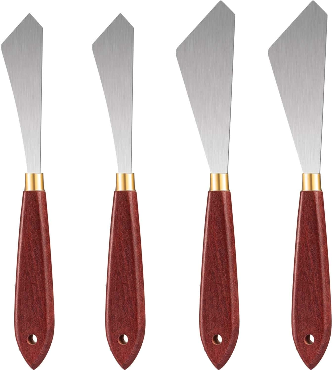 4 Pieces Painting Knife Set, Painting Mixing Scraper Stainless Steel Palette Knife Painting Art Spatula with Wood Handle for Oil Painting