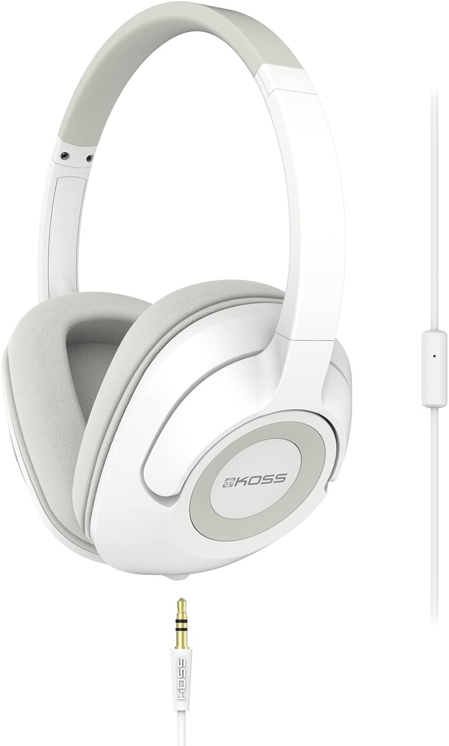 Koss UR42iW Over-Ear Headphones, in-Line Microphone and Touch Remote Control, Detachable Dual Choice Entry Cord, Wired with 3.5mm Plug, White
