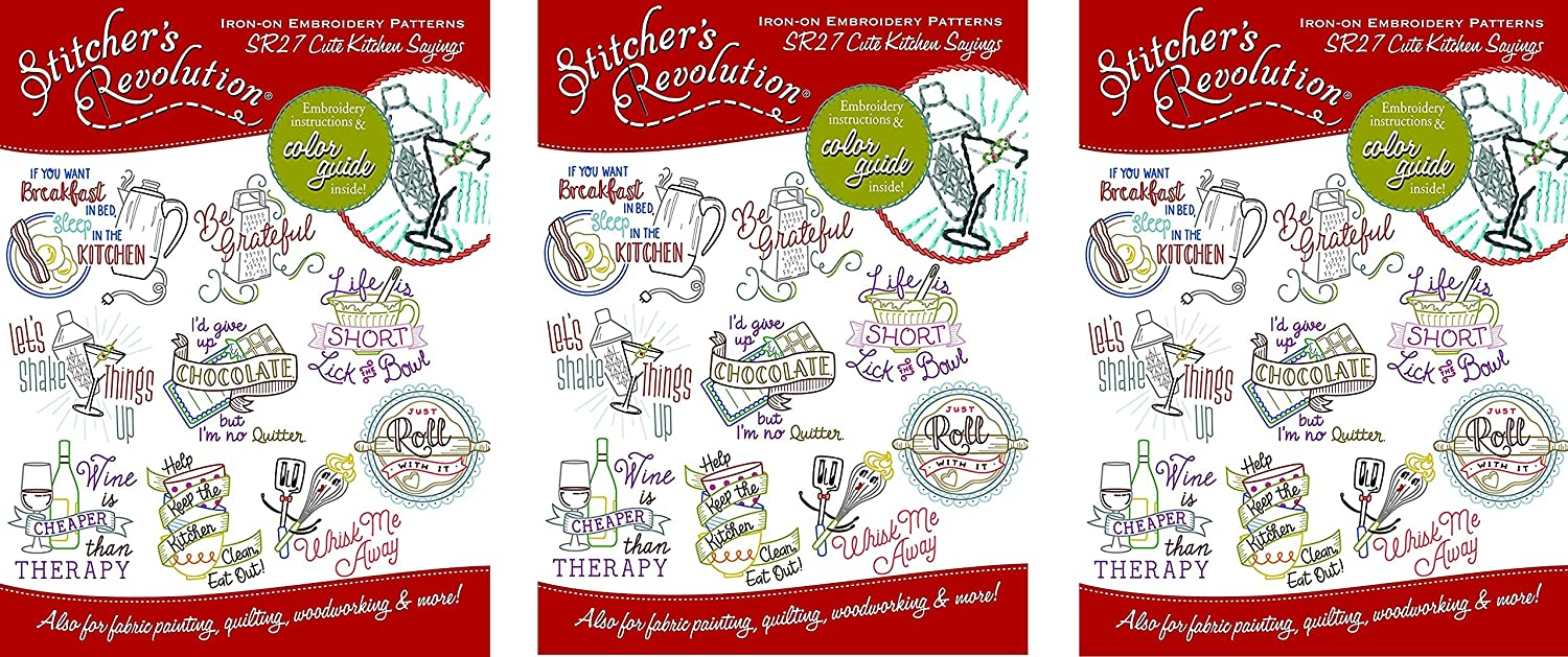 Stitcher's Revolution SR27 Cute Kitchen Sayings Iron-On Transfer Patterns for Embroidery, (3 Pack)