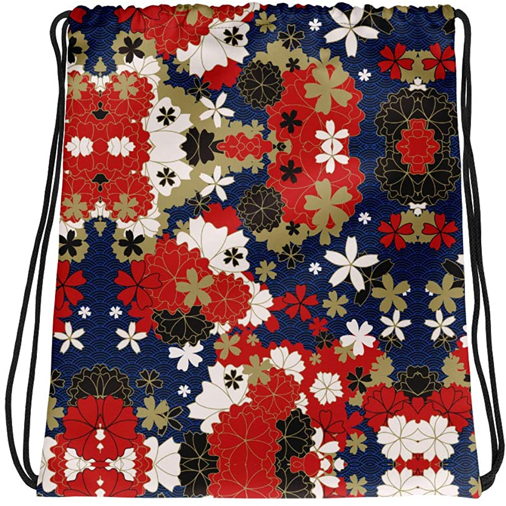 "Adi floral Bag size 15""x17"" • Twin cotton handles • Drawstring closure • 100% spun polyester fabric Drawstring bag"