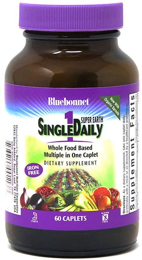 Bluebonnet Super Earth Single Daily Multi-Nutrient Formula Iron Free Caplets, 60 Count