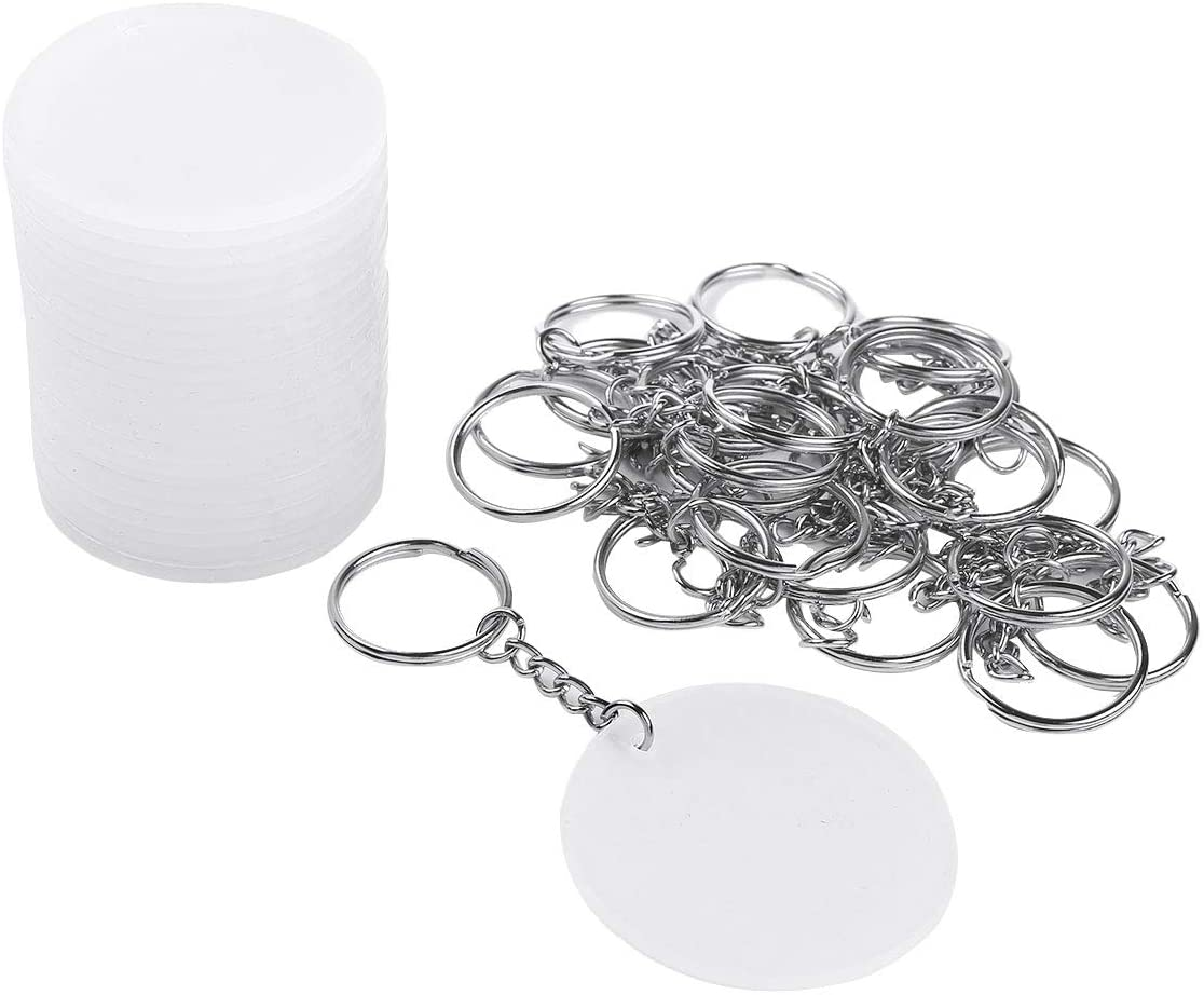 Freebily 24/30pcs 2 Inch Diameter Round Acrylic Clear Discs Circles with 24/30Pcs Metal Split Key Chain Rings for DIY Projects and Crafts 30PCS One Size