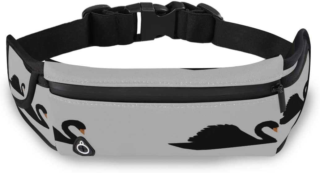 Black White Swan Feather Waist Bag Accessories Cute Fashion Bags Man Waist Bag With Adjustable Strap For Workout Traveling Running