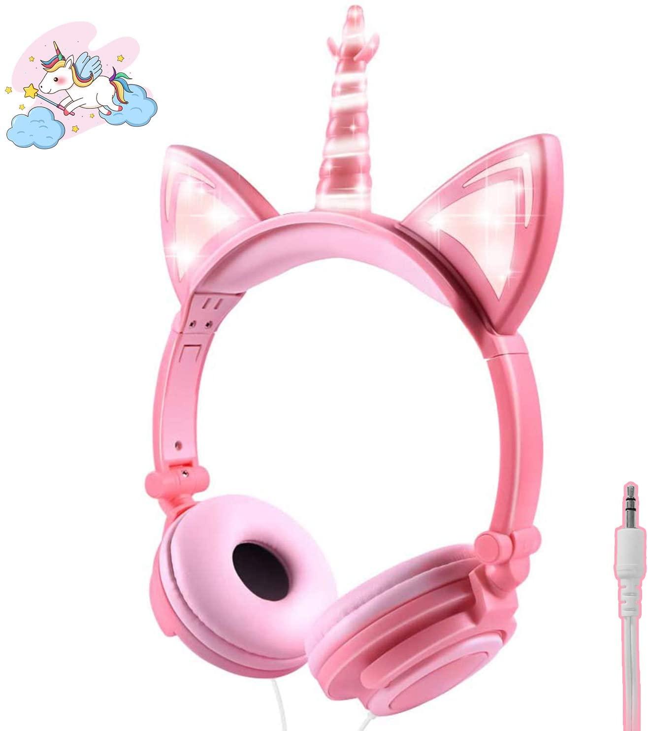 ONTA Kids Headphones,Unicorn Cat Ear Headphone LED Light Up Earphone Foldable Wired On-Ear Toddlers for Travel,Children/Boys/Girls Birthday Gifts,Superior Noise Isolation Ultra-Portable Design(Peach)