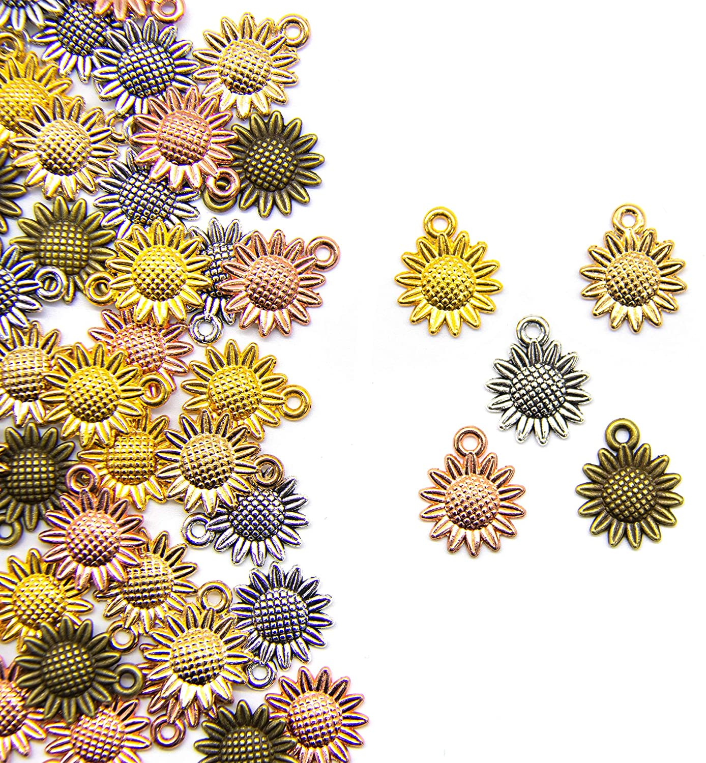 AUEAR, Set of 100 Sunflower Charms 5 Color Alloy Sunflower Pendant for Jewelry Making DIY Craft Bracelet Necklace Earring