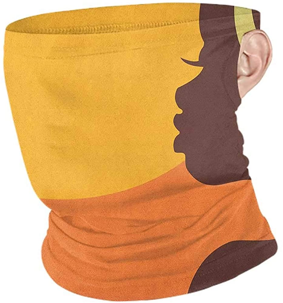 Bandanas for Women Cooling African Woman Teenage Girl Pretty Face Profile Abstract Sunset Calm Evening,for Winter Multifunctional Orange Salmon Dark Brown 10 x 12 Inch