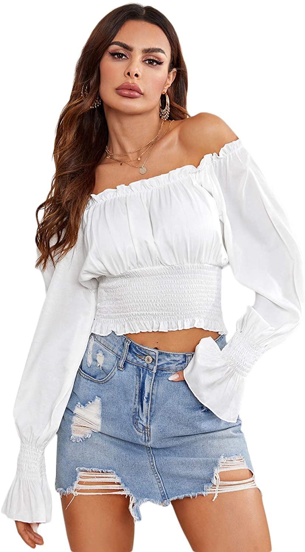 Romwe Women's Off The Shoulder Flounce Long Sleeve Shirred Crop Tops Blouse