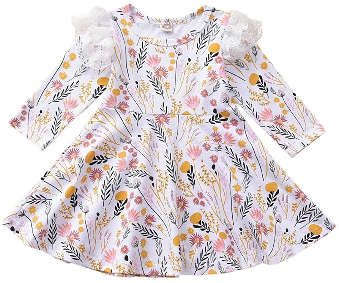 Toddler Girl Cotton Dress Baby Floral Prrint Dress Long Sleeve Princess Dress Clothes Outfit