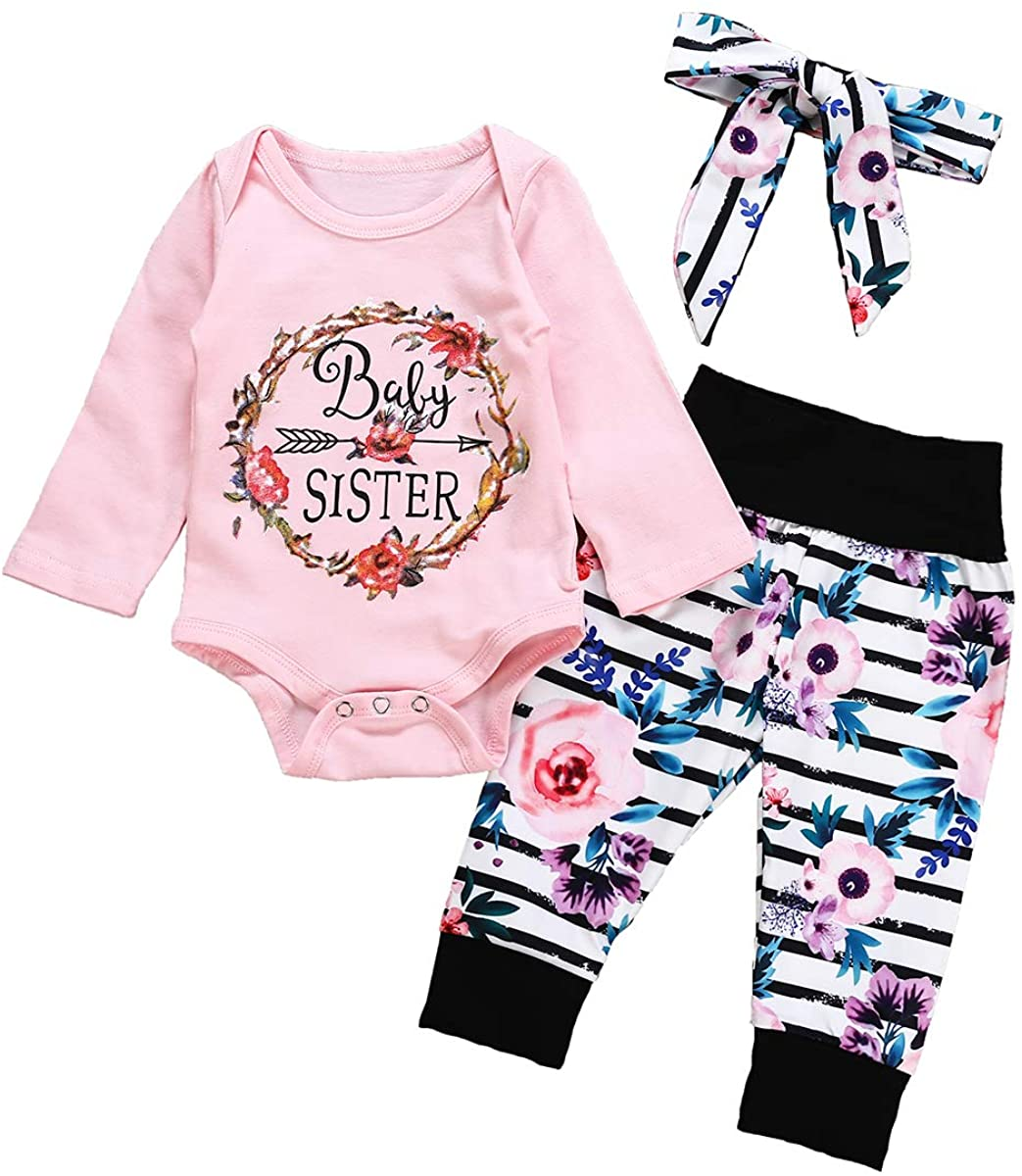 Newborn Infant Girl Baby Sister Outfits Bodysuit Rompers + Floral Leggings Pants Set Autumn Clothes + Headbands