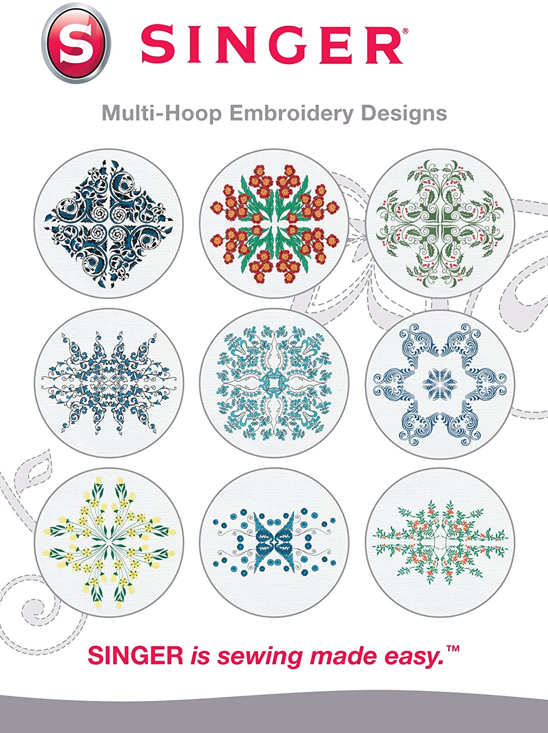 SINGER | Multi-Hoop Embroidery Designs CD for Futura with 10 Designs for SINGER Embroidery Machines - Sewing Made Easy