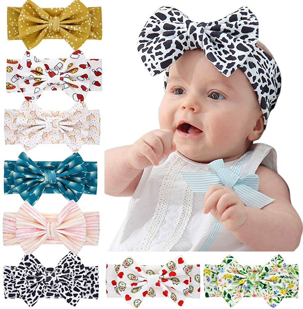 Anbaby Baby Headbands Bows knotted Soft Hairbands for Newborn, Toddler and girl's