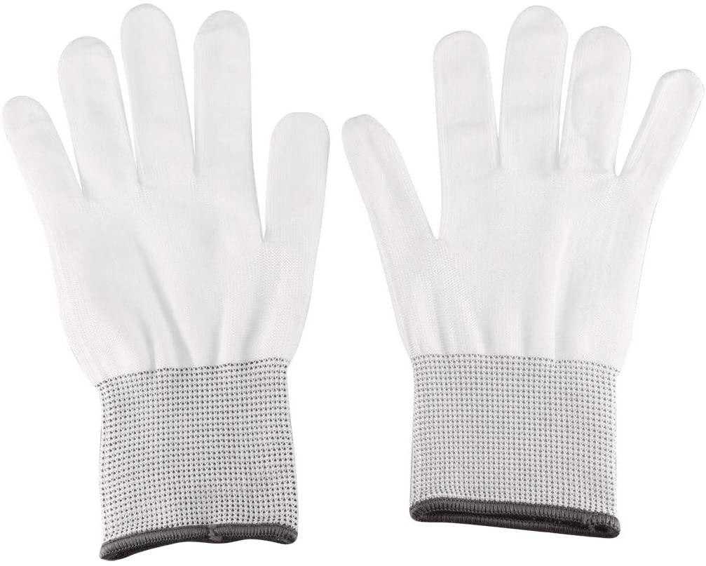 uxcell 12 Pair Nylon Work Gloves Microfiber Full Finger Working Protective Gloves White Gray L