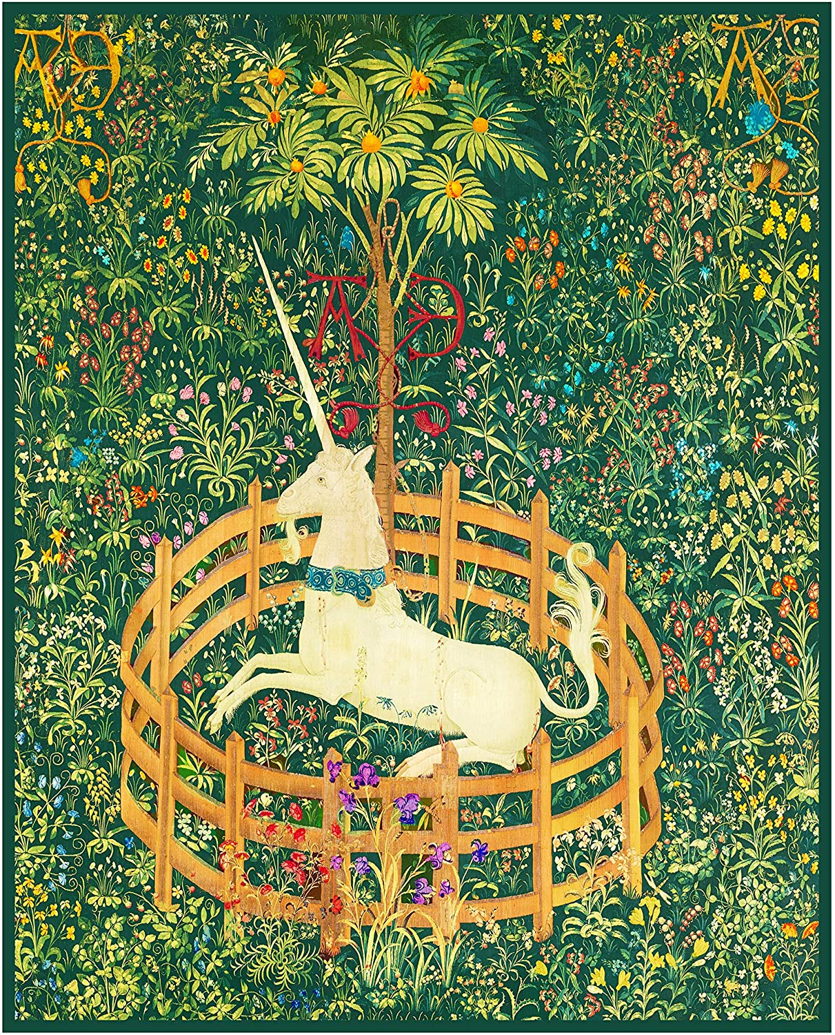 Orenco Originals The Unicorn in Captivity Green Background from The Hunt The Unicorn Tapestries Counted Cross Stitch Pattern