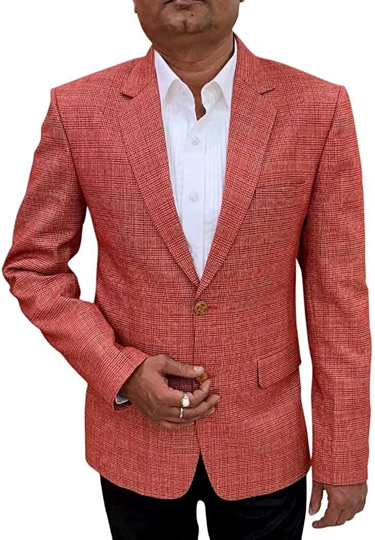 INMONARCH Red Checks Mens Blazer Sport Jacket Coat SBM19799
