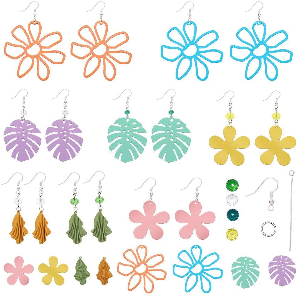 SUNNYCLUE 1 Box DIY Make 8 Pairs Spray Painted Flower Leaf Earrings Making Kit Summer Spring Teardrop Dangle Earring Making Starter Kit Jewelry Making Supplies for Beginners