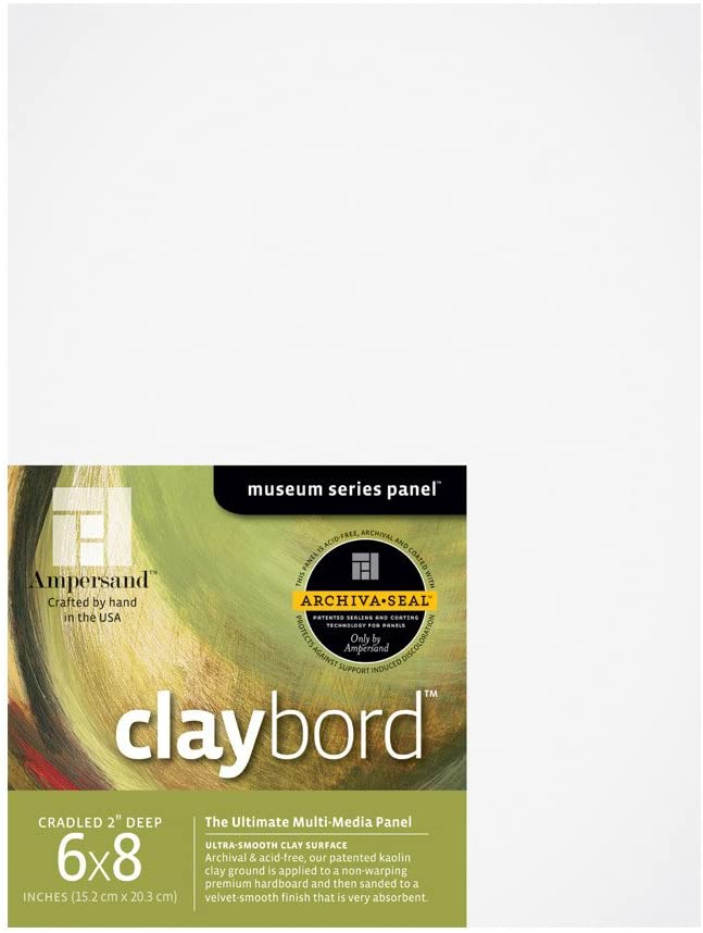 Ampersand Museum Series Claybord Panels for Paint and Ink, 2 Inch Depth Cradled, 6X8 Inch (CBSWC06)