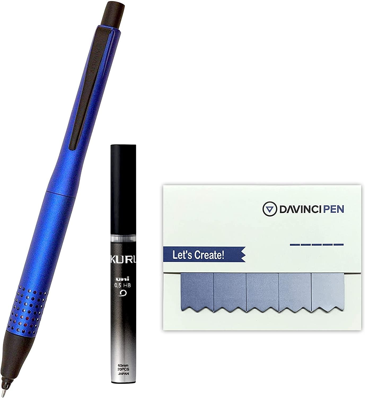 Mitsubishi UNI kuru togamechanical pencil ADVANCE UPGRADE MODEL 0.5mm Navy body with kurutoga HB lead 20 pieces with DAVINCIPEN Sticky Note