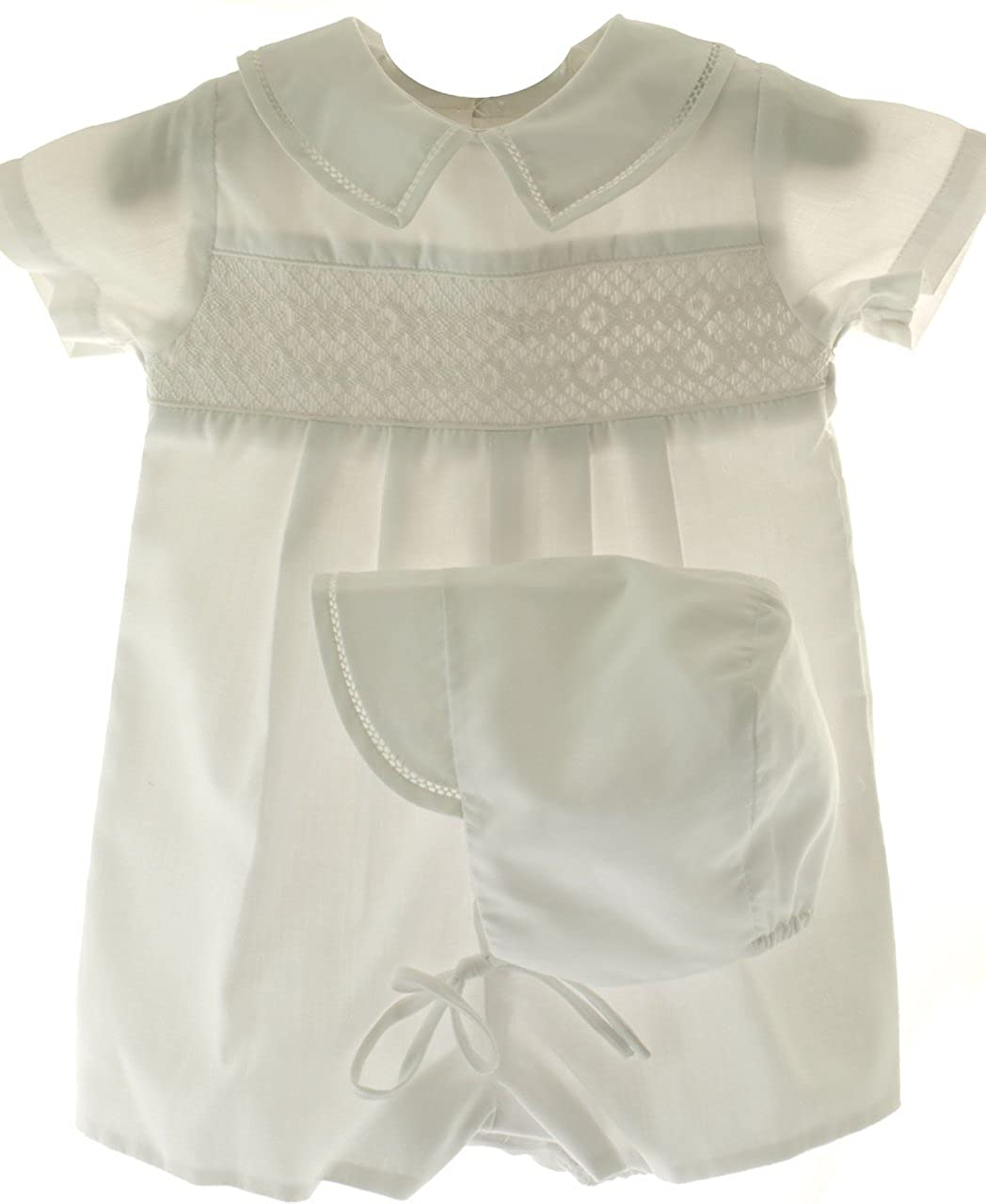 Connie's Kids Baby Boys Romper White Smocked and Hat