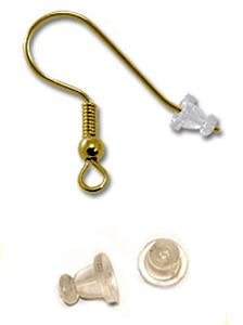 Fancy Style -Easy to Grab- Rubber Ear Nuts- Clear Earring Safety Backs (100)