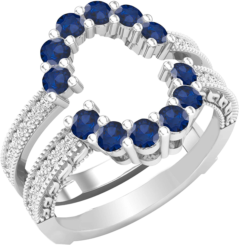 Dazzlingrock Collection Round Gemstone & White Diamond Ladies Enhancer Guard Double Wedding Ring, Sterling Silver