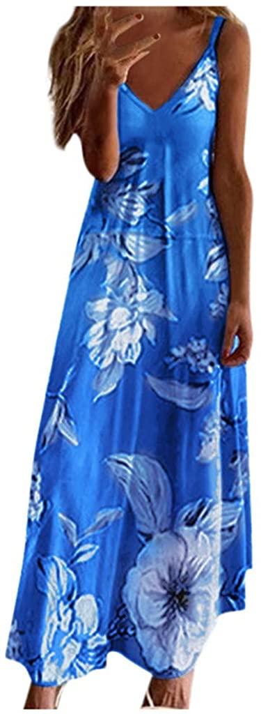 Womens Spaghetti Strap Long Dress Summer Floral Print V-Neck Sleeveless Casual Beach Maxi Dress