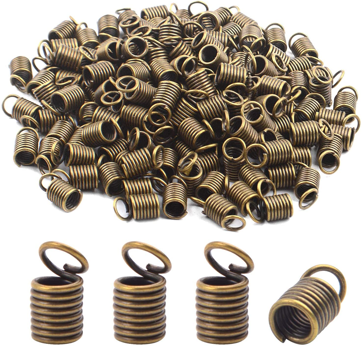 BronaGrand 150pcs Antiqued Brass Bronze Crimp Fasteners Leather Cord Ends Caps Necklace Clasp Jewelry Parts 10x5mm