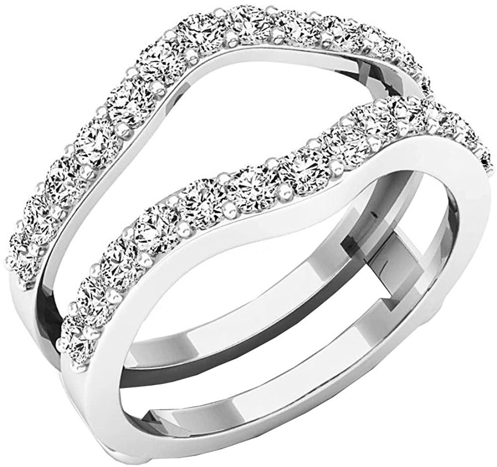 Dazzlingrock Collection 1.60 Carat (ctw) 18K Gold Round Lab Grown Diamond Ladies Wedding Double Enhancer Guard Ring